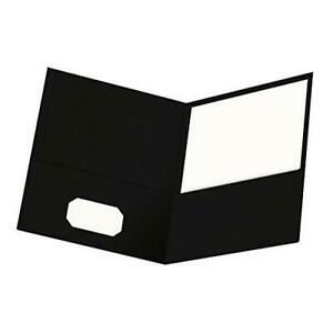 Oxford Twin pocket Folders Textured Paper Letter Size Black Holds 100