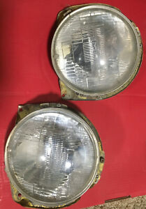 1977 1980 Chevy Luv Truck Oem Headlight Buckets Trim Rings And Light Bulbs