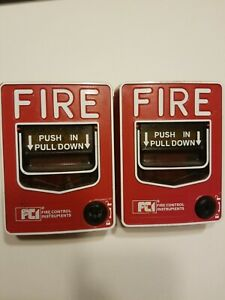 Lot Of 2 Used Gamewell Fci Ms 7a Addressable Fire Alarm Pull Stations
