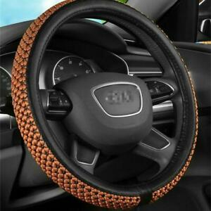 38cm Breathable Braided Silk Leather Steering Wheel Cover For Car Vehicle Brown