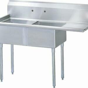 Turbo Air Tsa 2 r1 57 In Two Compartment Sink W 18 In Right Drainboard