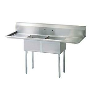 Turbo Air Tsb 2 d2 96 In Two Compartment Sink W 24 In Drainboards