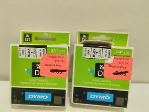 Dymo D1 Label Tape 3 4 X 23 Ft Black On Clear 2 Packages