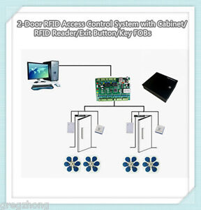 2 door Rfid Access Control System With Cabinet rfid Reader exit Button key Fobs
