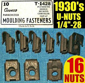16 Nos Auveco Old U Nuts 1930s 30s Fender Molding Trim Nut 1 4 28 Fine Thread