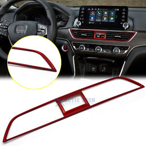For Honda Accord 18 20 Red Stainess Interior Dashboard Air Vent Panel Cover Trim