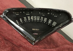 1956 1959 Chevy Dash Gauge Cluster Amp Fuel Temp Vtg Oem
