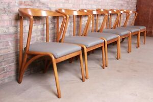 Baker Furniture Mid Century Modern Sculpted Solid Maple Dining Chairs Set Of 6