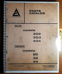 Allis chalmers 302 303 444 Baler 20 32 44 Thrower Parts Catalog Manual 9001355