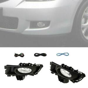New 2pcs Fog Light wiring Harness Clear For 2007 2008 2009 Mazda 3 4 Door