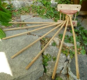 Old Vintage Wood Wooden 7 Arm Clothes Hanging Drying Rack Dryer