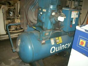 20 Hp Quincy Air Compressor Qr 25 Horizontal Series Model 390 With 20 Hp Ge Moto