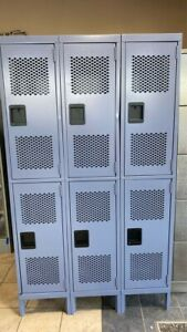 3x2 Light Gray blue Vented Lockers 45 X 78 X 18 great For Gyms Sports Clubs
