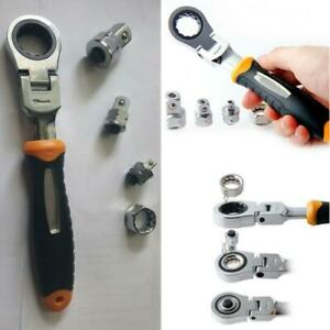 Adjustable Ratchet Wrench 1 4 3 8 1 2 Socket Adapter Spanner Auto Repair Tool