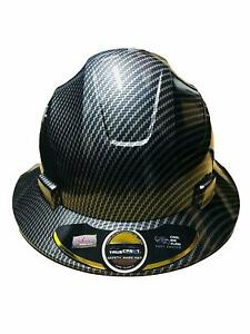 Truecrest Hydro Dipped Black Full Brim Hard Hat With Full Size