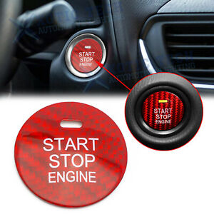 Red Real Carbon Fiber Keyless Engine Push Start Button For Mazda 3 6 Cx 3 Cx 5