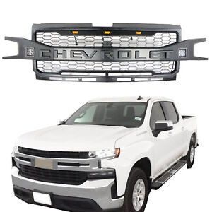 Front Grille For Chevrolet Silverado 1500 2019 2020 Grill With 3 2 Led Lights