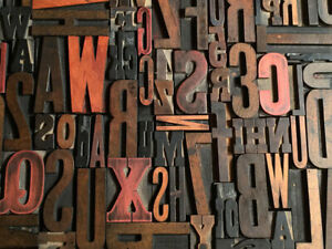 Lot Of 100 Antique Vtg Wood Letterpress Print Type Block Alphabet Letters s
