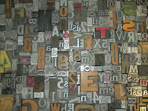 Lot Of 100 Vtg Metal Wood Letterpress Print Type Block Alphabet Letters Numbers