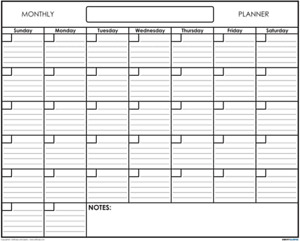 Monthly Wall Calendar Planner Hanging One Month Dry Erase Board White Large Home