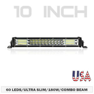 10inch 180w Led Light Bar Dual Row Spot Flood Combo Work Suv Offroad Atv 4wd Us