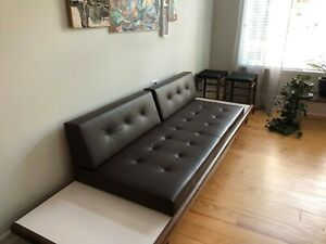 Beautiful Vintage Mid Century Modern Leather Sofa Couch W Floating End Tables