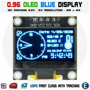 0 96 I2c Iic 128x64 Led Oled Lcd Display Module For Arduino Blue Color Ssd1306