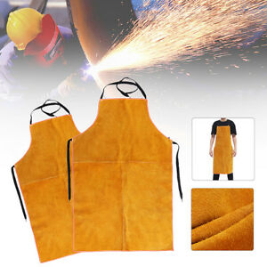 Leather Welding Bib Full Cowhide Blacksmith Apron Protect From Welding