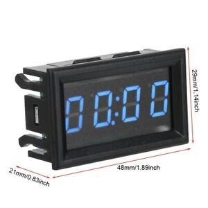 Led Electronic Digital Luminous Car Watch Clock Accessory Decoration blue