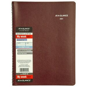 2021 At a glance Dayminder G520 14 Weekly Appt Book 8 X 11 Burgundy Cover New