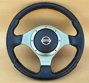 Super Rare Momo Nissan Nismo Red Stiched Steering Wheel Z33 300zx Oem Jdm Used