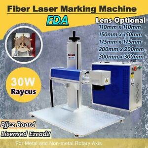 30w Split Fiber Laser Marking Engraving Machine Rotary Axis Include Raycus Laser