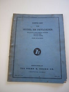 Ih Hough Hh Front end Wheel Pay Loader Tractor Parts Catalog Manual List 18a 19a