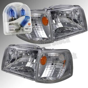 93 97 Ford Ranger Clear Chrome Corner Headlights nokya Arctic White Bulbs Set