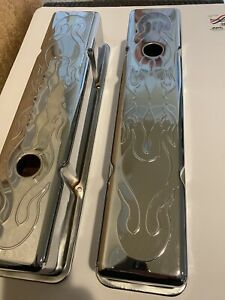 New Never Used Chevy Corvette Flame Chrome Valve Covers