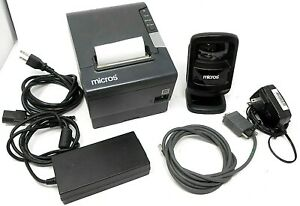 Micros Pos Combo M244a thermal printer and ds9208 barcode reader with cables