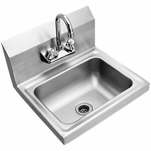 Durable Stainless Steel Wall Mount Washing Sink Basin W faucet