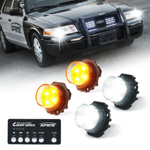 Xprite 4pcs Amber White Led Strobe Lights Kit Hideaway Emergency Hazard Warning