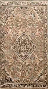 Antique Muted Geometric Vegetable Dye Traditional Area Rug Hand Knotted Wool 4x7