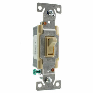 Eaton Cooper C1301 7ltv l Lighted Toggle Switch 1 pole 15a 120v Ivory