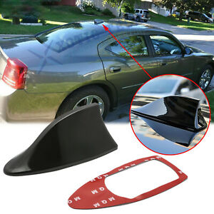 Black Racing Shark Fin Roof Antenna Radio Fm Am 1pc For Dodge Charger Challenger
