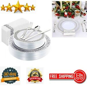 150 Pcs Silver Plates With Disposable Silverware And Hand Napkins Lace Design
