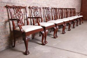 Baker Furniture Stately Homes Chippendale Carved Mahogany Dining Chairs