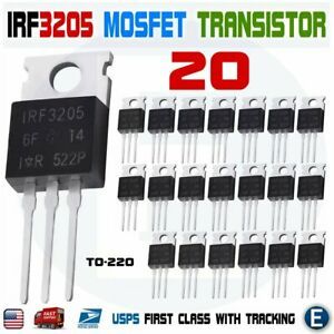 20pcs Irf3205 Ir Mosfet N channel 55v 110a To 220 Hexfet Power Transistor Irf