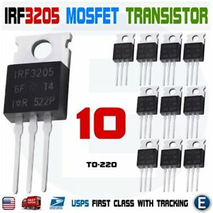 10pcs Irf3205 Ir Mosfet N channel 55v 110a To 220 Hexfet Power Transistor Irf