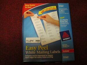 Avery 5160 Easy Peel White Mailing Labels 1 X 2 5 8 Laser Open Box