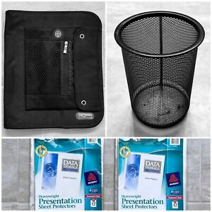 New Pro Platinum Black Organizer Pen Holder And Presentation Sheet Protectors