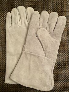 New 13 Welding Gloves Gray Leather Cowhide Protects Hands Professional Grade
