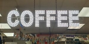 Led Business Sign coffee With Hanging Chain