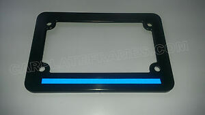 Motorcycle Blue Line License Plate Frame Thin Reflective Police